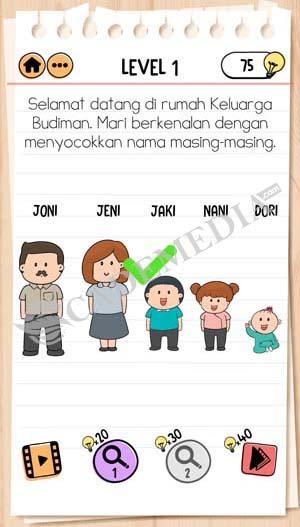 Jawaban Brain Test 2 Keluarga Budiman Level 1